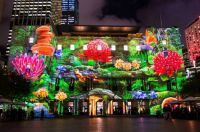 'Enchanted Sydney',  images of Sydney's flora and fauna are projected onto the iconic facade of Customs House, Aus,