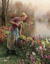"""Daniel Ridgway Knight, """"Fishing"""""""