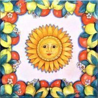 Caltagirone Mediterranean decoration with sun and citrus on ceramic