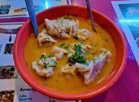 Nepalese jhal momo (dumplings in spicy soup)