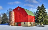Winter farm barn