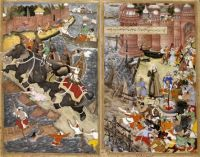 Akbar mounts  the royal elephant Hawa'i