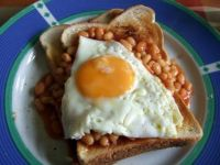 BEANS ON TOAST WITH A FRIED EGG