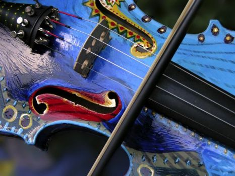 Blue and red violin