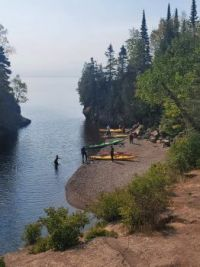Kayakers at Temperence River and Lake Superior, Minnesota