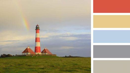 Rainbow over the Westerheversand Lighthouse