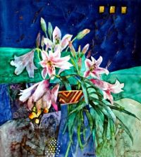 lilies against a blue wall by Shirley Trevena