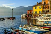 Fishing boats in the harbour of Malcesine, Lake Garda, province of Verona, Italy