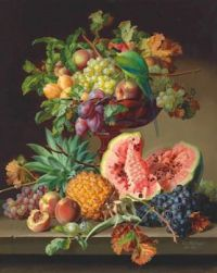 Anton Hartinger (Austrian, 1806–1890), Still Life with Fruit and a Parrot (1867)