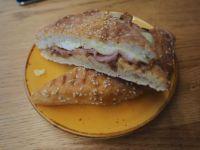 Bacon, egg, cheese. toasted panini