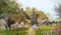 Countryside Tea Party For Sue1's Birthday. - Painting An English Country Cottage by James Mathews