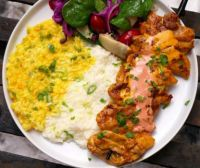 Arroz con Pollo with Salvadoran kebab