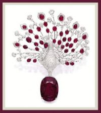 RUBY AND DIAMOND 'PEACOCK' BROOCH, CARTIER