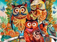 Brightly Colored Owls