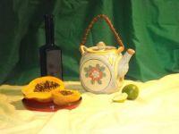 Papaya and Teapot Still Life