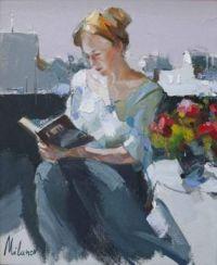 Avid Reader   -  Stojan Milanov, 1963  Abstract painter