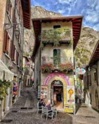 Beautiful streets of Limone sul Garda, Lombardy, Italy