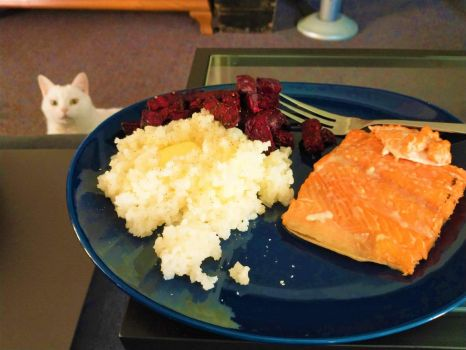 Fresh salmon, roasted beets and buttered rice