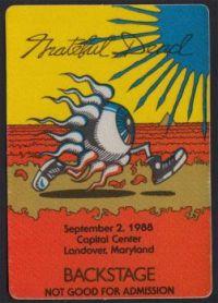 Backstage pass Capital Center, Landover 1988