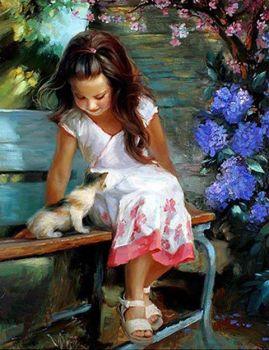 Little girl, little cat
