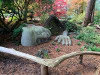 A sleeping lady topiary in Beacon Hill Park in Victoria BC