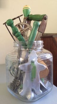 Jar of Vintage Kitchen Utensils