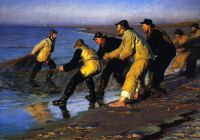 "Peder Severin Krøyer, ""Fishermen Hauling a Net on Skagen's North Beach"", 1883"