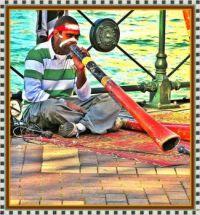 Listen to the Didgeridoo Man, beside the harbour in Sydney.