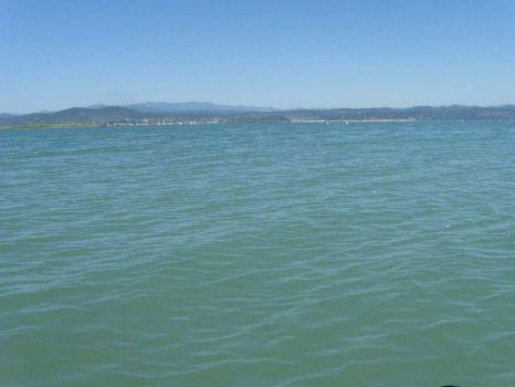 The Soča river meeting the Adriatic sea
