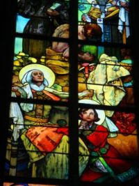 Part  of the Mucha window in St Vitus's Cathedral, Prague (2)