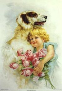 Themes Vintage illustrations/pictures - Little girl and dog