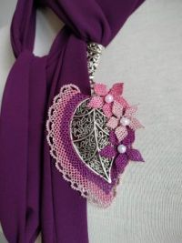 Turkish traditional needle lace scarf