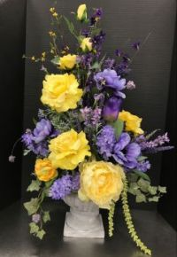 Happiness is.... A Purple and Yellow Spring Arrangement.