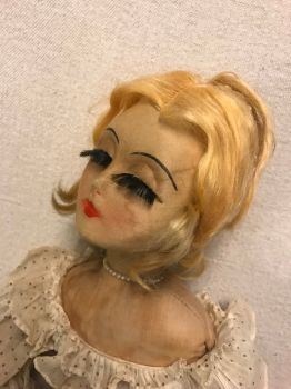 "Vintage ""Blossom"" Cloth Boudoir Doll Art Deco                                             made by Blossom co. usa"