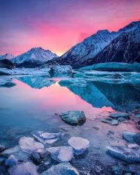 New Zealand - Tasman Glacier Lake, Mt. Cook National Park