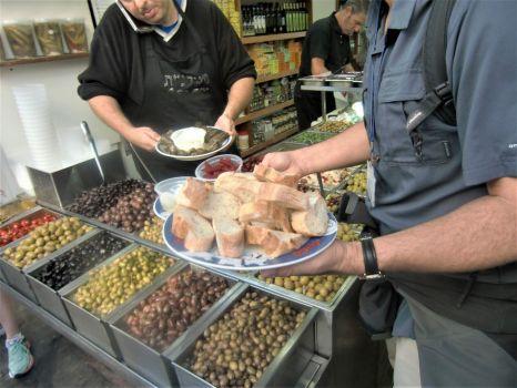 We got to sample many kinds of olives in a Tel Aviv olive stand, Israel trip 2016