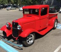 Bright red 34 ford pickup