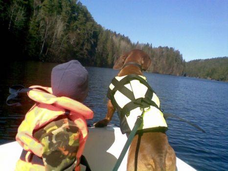 Robin and Otto the dog having fun on a boattrip