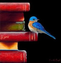 Books With Blue Bird, A Painting By Camille Engel