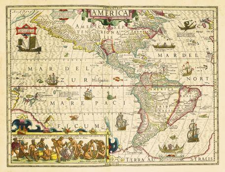 Old Map Of America (Gerard Mercator, 1630)