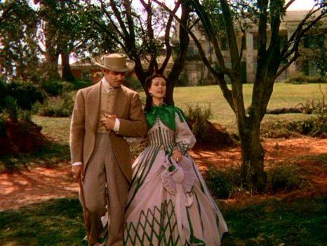 Vivien Leigh as Scarlett O'Hara, and Clark Gable as Rhett Butler