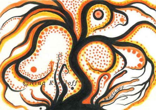 Black Tree & Orange Color