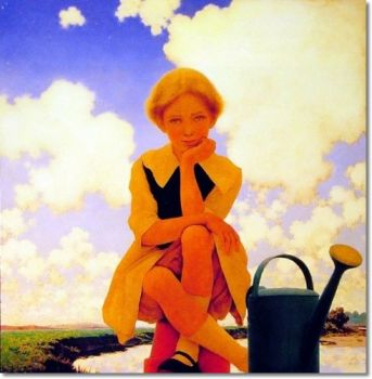 Maxfield Parrish American Illustration - Mary Mary Quite Contrary Painting