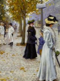 "Paul Gustav Fischer, ""Waiting for the Tram"""