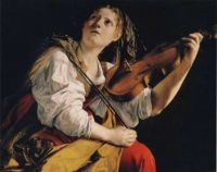 Young Woman Playing a Violin
