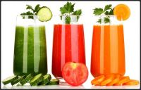 Cucumber, Tomato, and Carrot Veggie Drinks