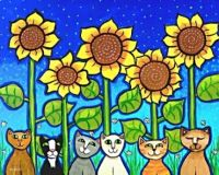 Happy Cats and Sunflowers
