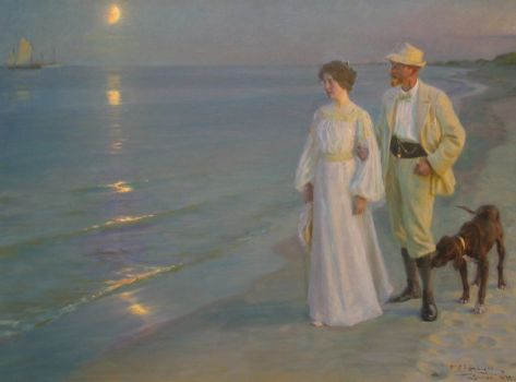 Summerevening at Skagen beach, Denmark. P. S. Kroyer with wife. By P. S. Kroyer