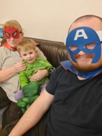 Danma and Daddy wore Piggly's superhero costumes!