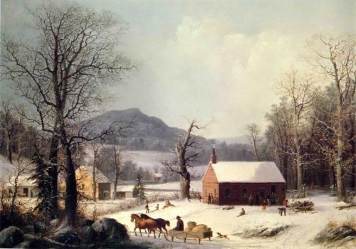 Red School House, Winter by George Henry Durrie